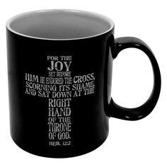 Large Black Inspirational Mug - Hebrews 12:2