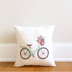 throw pillow, bike pillow, Mothers day gift, gift for mom, spring pillow, spring decor, rustic farmhouse style
