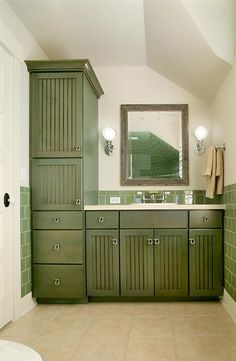 Green Stained Cabinets In Bathroom