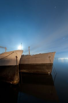 A shot from Scott Haefner's Ghost Fleet set, Mothballed ships in the National Defense Reserve Fleet.