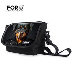Frescos sacos de homens mensageiro saco de lona do Vintage cão Rottweiler ombro Crossbody bolsas para homem preto crianças Designer de bolsas Bolso