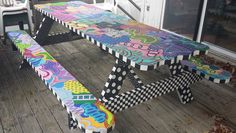 Hand painted Picnic Table by debbie johnson, $4,000.00