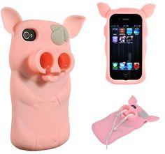iPhone 4 / 4S Sniffie Piggie Skin Case w/ Headphone Holder