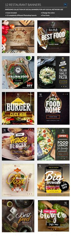 Food & Restaurant banners - Banners & Ads Web Template PSD. Download here: http://graphicriver.net/item/food-restaurant-banners/16411716?s_rank=8&ref=yinkira