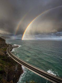 Sea Cliff Bridge with Rainbow by David Wimble on .Sea Cliff Bridge in South Coast, Sea Cliff Bridge, Beautiful World, Beautiful Places, Wonderful Places, Beautiful Scenery, Amazing Things, Amazing Places, Jolie Photo, Amazing Nature