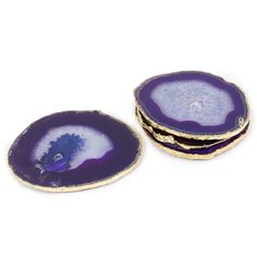 Modern Home Accessories   Purple and Gold Agate Coasters   Jonathan Adler