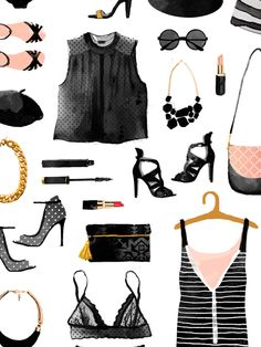 French chic-fashion pattern on Behance