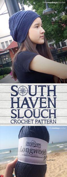 South Haven Slouch | Free Slouchy Hat Crochet Pattern using Cascade Yarns Longwood Sport | by Little Monkeys Crochet