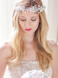 Bohemian Bridal Headband Bohemian Bridal Halo Boho by AOStyles