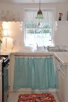 216 best decorating curtains on cupboards under sinks images rh pinterest com Over Kitchen Sink Window Treatments Bathroom Sink Curtains