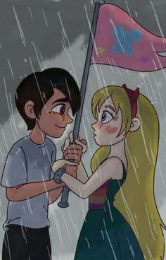 """Stock image used as reference: Rain Couple Space Saver Pack 1 I'm Starco trash, end of story. Inspired by the episode """"Game of Flags"""". Our Side Star E Marco, Regard Intense, Starco Comic, Evil Art, Couple Cartoon, Star Butterfly, Star Vs The Forces Of Evil, Cute Cartoon Wallpapers, Force Of Evil"""