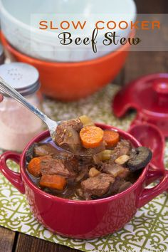 Slow-Cooker Beef Stew - hearty, flavorful, tender melt-in-your-mouth beef, and packed with veggies! Omit the peas for Phase 1 (brown the meat in a nonstick skillet without oil), Phase 3, and D-Burn (skip the tapioca flour, and season with bay leaf and oregano).