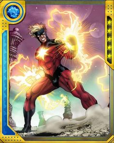 The experiments of Dr. Benjamin Savannah changed Mar-Vell's genetic structure, bestowing upon him the power to channel solar radiation. Using this power, he is able to fly, unleash blasts of photons, and survive by metabolizing solar energy. Marvel Marvel, Marvel Comics Art, Marvel Heroes, Cosmic Comics, Marvel Comic Character, Marvel Characters, Comic Books Art, Comic Art, Character
