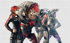Mass Effect,фэндомы,ME art,Femshep,Wrex,Legion,tali zora'h