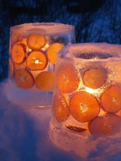 Ice Lanterns!  Just fill a large bucket with water, add a smaller bucket (anchored with weights like rocks) to the middle and fill the space in between with colorful items.  Freeze and remove the center bucket by adding hot water to loosen it.  Add a candle to the center and set outside on the porch.  Gorgeous!