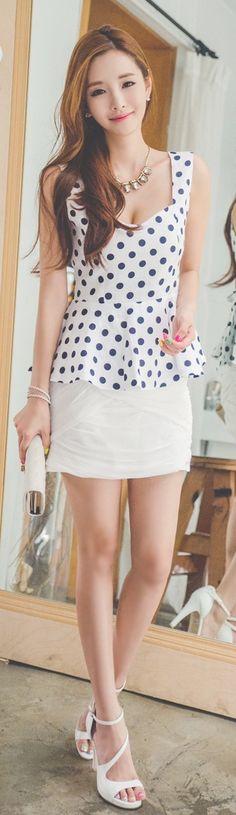 Luxe Asian Women Design Korean Model Fashion Style Dot back ribbon Navy Top