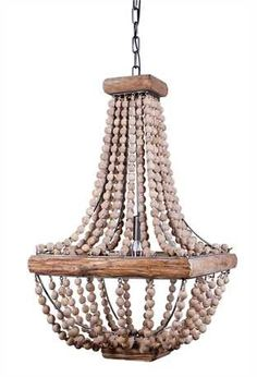 "16-1/2"" Square x 28""H Metal Chandelier w/ Wood Beads (40 Watt Bulb Maximum, UL Listed) This item is available to order! Please contact a Laura of Pembroke sales associate for availability."