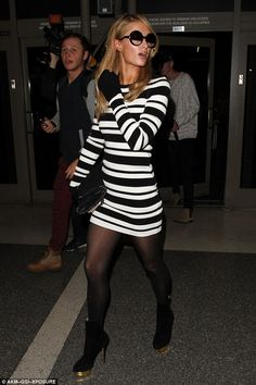 Paris Hilton wearing Charlotte Olympia Lucinda Ankle Boots, Chanel Two Tones Sunglasses, Stella McCartney Falabella Tiny Quilted Crossbody Chain Bag, Torn by Ronny Kobo Striped Dress, 360 Sweater Cashmere Gloves and Topshop Black Tights Pantyhose Outfits, In Pantyhose, Nylons, Charlotte Olympia, Paris Hilton Style, Nicky Hilton, Star Fashion, Womens Fashion, Stella Mccartney Falabella
