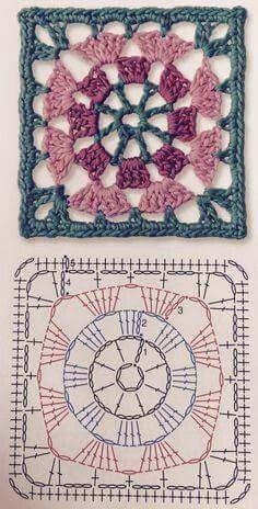 Transcendent Crochet a Solid Granny Square Ideas. Inconceivable Crochet a Solid Granny Square Ideas. Mandala Au Crochet, Crochet Shawl Diagram, Crochet Motifs, Granny Square Crochet Pattern, Crochet Stitches Patterns, Crochet Chart, Crochet Squares, Knitting Patterns, Knit Crochet