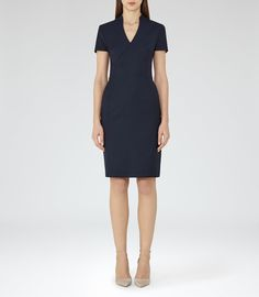 Indis Dress  Navy Tailored Dress - #REISS