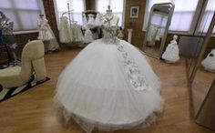 A gypsy wedding dress on display.