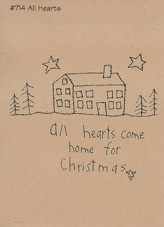 Primitive Stitchery Pattern Christmas Folk Art Pattern All Hearts. $6.95, via Etsy.