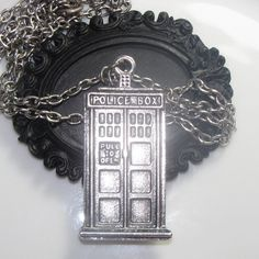 Doctor Who Tardis Police Box Necklace  Unisex Mens or by CUDAGE, $15.00