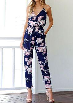Be Jealous Women Floral Cap Sleeve Keyhole All in One Piece Playsuit Jumpsuit