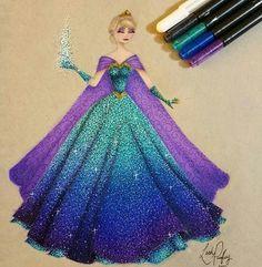 Incredible Drawing of Queen Elsa - Frozen ❄️ Disney Princess Fashion, Disney Princess Drawings, Disney Princess Art, Princess Style, Disney Fan Art, Disney Drawings, Disney Style, Film Disney, Disney Love