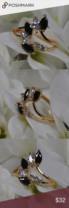 Marquise Black Clear Crystal Fashion Ring Sz: 6.75 This Marquise Cut Black and Clear Crystal Gold Tone Fashion Ring Jewelry full of sparkle. Featuring marquise cut clear and black crystals, set in a gold tone band.  It's the perfect finishing touch to any outfit.   NO hallmarks on band  Size 6.75 ( 6 3/4 ) measured on metal mandrel seen in last photo  Ships in ring gift box  Smoke free pet friendly home  This Crystal fashion ring jewelry makes the perfect gift, so don't miss out and order it…