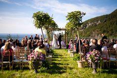 Stunning wedding venue# ocean view# backyard wedding# wedding isle decor# trees# ferns# urn arrangements# purple# green# coastal wedding