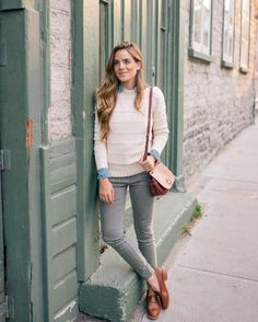 Julia Engel shares her daily look on Gal Meets Glam. Julia is wearing a Rebecca Taylor sweater, J.Crew shirt, J.Crew pants, and Madewell loafers.
