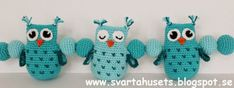 Owls and balls decoration for baby carriage by Svarta Huset! – Stitches and Supper Crochet Ball, Crochet Baby Toys, Crochet For Kids, Owl Crochet Pattern Free, Free Crochet, Ball Decorations, Owl Patterns, Baby Carriage, Baby Owls