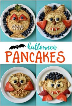 Imagine the delight your kids will have on their faces when they see a plate of Halloween Pancakes waiting for them tomorrow morning. Topped with fresh fruit for the faces, this breakfast treat will make your entire family happy. Halloween Snacks, Halloween Backen, Halloween Breakfast, Hallowen Food, Healthy Halloween, Halloween Activities, Breakfast For Kids, Holidays Halloween, Pancake