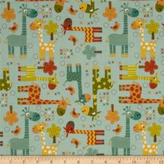 Riley Blake Giraffe Crossing Giraffe Main Teal from @fabricdotcom  From Riley Blake Designers, this fabric is perfect for quilting, apparel and home decor accents. Colors include brown, ivory, red, yellow, orange, citrine and teal.