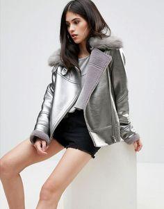 Discover the latest fashion & trends in menswear & womenswear at ASOS. Christmas 2017, Fashion Forward, Fashion Online, Biker, Asos, Bomber Jacket, Metallic, Leather Jacket, Coats
