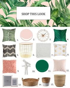 shop-this-look tropical inspiration baby nursery blush pink emerald green My Room, Girl Room, Tropical Nursery, Green Wall Decor, Childrens Bedroom Decor, Gold Color Palettes, Makeup Rooms, Room Planning, Home Decor Kitchen