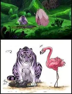 Not sure about Law being a cat but Fujitora would definitely be a purple tiger