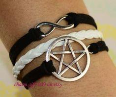 Infinity bracelet  pentagram bracelet  star by Charmgift009, $1.99