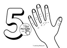 5 numbers coloring pages for kids, printable free digits coloring books