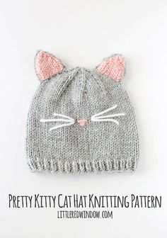 Kitty Cat Hat Baby KNITTING PATTERN - knit cat hat pattern for babies, infants, toddlers - sizes 0-3 months, 6 months, 12 months, 2T+