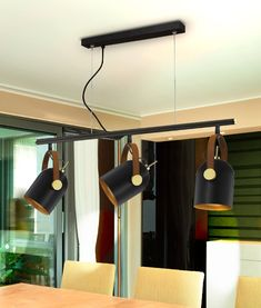 Suspended light bar with 3 metal shades and faux-leather, ideal for many living spaces such as dining room or kitchen. Heads are adjustable. Suspended Lighting, Bar Lighting, Track Lighting, Living Spaces, Dining Room, Ceiling Lights, Metal, Leather, Home Decor