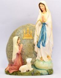 Virgin Mary Statues and St Bernadette Statues from Lourdes. All our statues are in remembrance of the apparitions that took place in Lourdes Jungfrau Maria Statue, Catholic Store, Virgin Mary Statue, Our Lady Of Lourdes, Disney Characters, Fictional Characters, Saints, Disney Princess, Painting