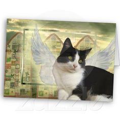 Pet Sympathy Angel Cat Card by Sequin Dreams Studio.