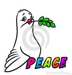 Dove of Peace emblem cartoon illustration   image