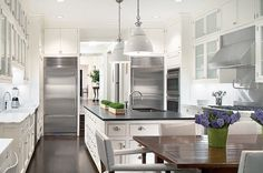 light and open - light cabinets and dark counters