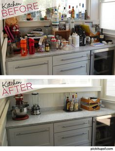 In an hour, this kitchen counter went from cluttered and unusable to beautiful and functional. PICK IT UP, Home Organizing. Book your Virtual Assessment today!