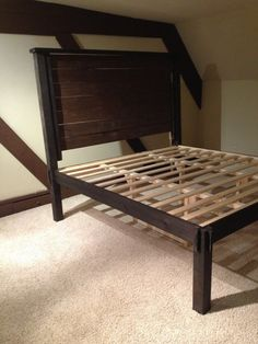 Platform bed with Headboard by DBWoodWorx on Etsy