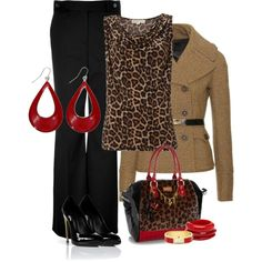 """Leopard and red"" by madamedeveria on Polyvore"