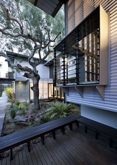 Minimalist House // exterior living space at the Marcus Beach House by Bark Architects Minimalist House Design, Minimalist Home, Minimalist Window, Indoor Outdoor Living, Outdoor Spaces, Outdoor Seating, Australian Homes, Window Design, Architect Design